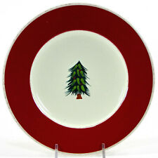 """Pier 1 Imports RUSTIC TREE 8.5"""" Salad Dessert Plate Christmas Red Green"""