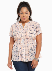 Torrid Floral Print Chiffon Smocked Top Blouse Short Sleeve 1 1X Plus