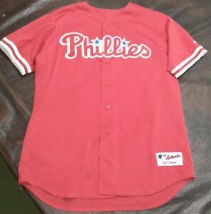 Vintage Majestic Philadelphia Phillies Baseball Jersey Size 52 MLB Red Authentic
