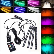 4X 12V 9LED RGB Car Interior LED Strip Lights Wireless Remote Control Cigarrete