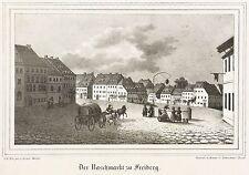 """FREIBERG - Untermarkt - """"Naschmarkt"""" - Kirchen-Galerie - Lithografie 1838"""