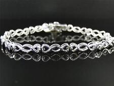 Ladies Womens White Gold Finish Genuine Diamond Infinity Heart Bracelet .24 Ct