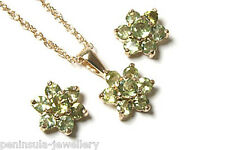 9ct Gold Peridot Cluster Pendant Necklace and Earring Set Gift Boxed Made in UK