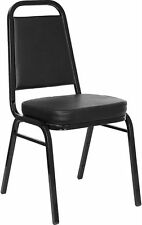 Trapezoidal Back Stacking Banquet Chair in Black Vinyl with Black Frame