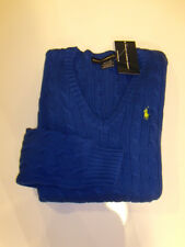 NWT Womens Ralph Lauren Polo Blue NEW  Jumper V Neck Sweater Pony Cable L Large