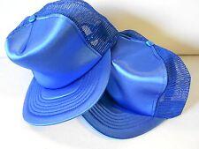 Lot 2 NOS Vtg '70's Trucker Cap Hat USA Fits All ADJ Snap-back Satin Blue Wow!