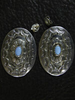 Navajo Platero Sterling Silver Turquoise Concho Post Earrings Marked Signed