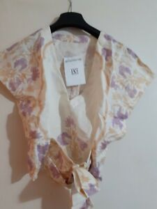 Free People Sample Arielle Printed Floral Linen Blend Top Size S New Cream