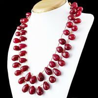 Amazing 812.50 Cts Earth Mined 2 Strand Rich Red Ruby Pear Shape Beads Necklace