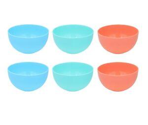 Set Of 6 Plastic Cereal Bowls Breakfast Stackable Dessert Snack Soup Bowls