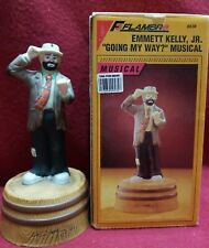 c.1994 Flambro Signed Emmett Kelly Jr Porcelain Musical Box - Going My Way?