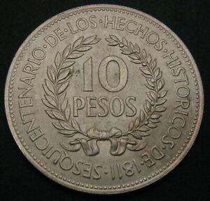 URUGUAY 10 Pesos 1961 - Silver - Revolution Against Spain - XF/aUNC - 1449