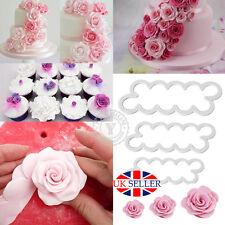 3 X Cake Rose Petal Flower Cutter Fondant Icing Tool Sugarcraft Decorating Mould