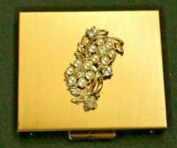Antique Powder Compact Gold w/Pearl and Diamond Design Powder Puff included