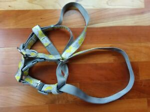Yellow Gray Floral Flower Dog Harness Collar Leash Sz Large Adjustable Top Paw