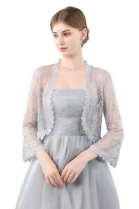 Central Chic© Womens Premium Lace Open Front Shrug Bolero Cardigan Weddings