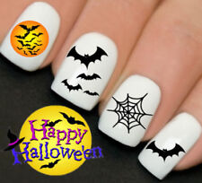Bats Spiders Web Halloween Nails Nail Art Water Transfer Decal Wraps Y761