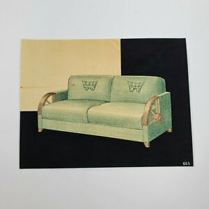 Vintage 1940s Mid Century Hand Drawn Designer MCM Couch Sofa Drawing Mock Up 663