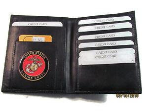 MARINE CORPS BLACK LEATHER BIFOLD PASSPORT WALLET CARD HOLDER NEW