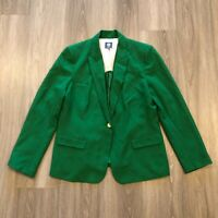 Vince Camuto Womens Size 14 Green Single Button Stretch Blazer Jacket Poly Rayon