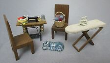 Lot Dollhouse Furniture,Treadle Sewing Machine,Ironing Board,Chairs & Miniatures