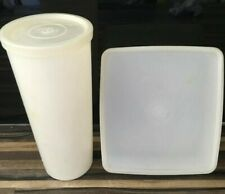 """Vintage Tupperware """"Clear/White Sandwich Box and Cup both with Lids """""""