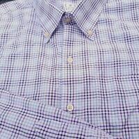 Peter Millar Mens Blue Purple Check Plaid Mens Cotton L/S  Dress Shirt Size XL