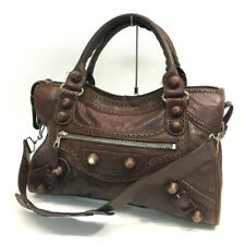 BALENCIAGA Leather Giant City Tote Bag Shoulder Bag Brown 204529