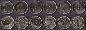 Hungary __- set 6 coins x 5 Forint 2021 UNC 75th Ann of the National Currency