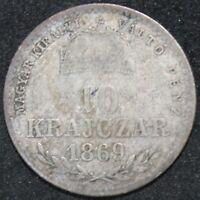 1869 G.Y.F. | Hungary 10 Krajczar | Silver | Coins | KM Coins