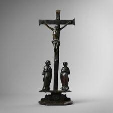 Antique 18th century carved wood crucifix Corpus Christi Christ