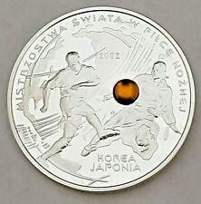 World Football Championsh Korea//Japan with AMBER 2002 POLAND SILVER PROOF 10zl