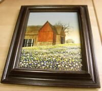 Vintage signed H Hargrove real oil painting canvas Red country farm barn 50665