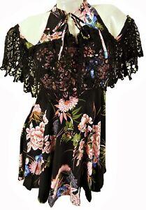 BLACK FLORAL TIE NECK COLD SHOULDER LACE TRIMMED DRESS,  SIZE S / M / L, LD422
