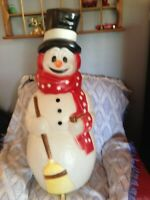 """VINTAGE 1999 CHRISTMAS EMPIRE 40"""" SNOWMAN (RED/WHITE STARS) BLOW MOLD #3"""