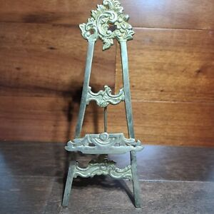 Vintage Brass Look Ornate Easel Display Picture Photo Art Book Stand Decorative