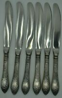 💥RARE Vintage SILVER PLATED SET of 6 Knives Melchior CuproNickel SOVIET USSR #1