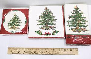 3 Packs Spode Paper Napkins Christmas Tree 1 Dinner 1 Lunch Garland 1 Bev (1T)