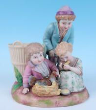 Antique German Bisque Porcelain Children Group Figurine Vase Hen Nest Schneider