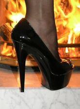 Sexy Plateau Pantolette Lack High-Heels Schwarz 40 Lack Stiletto Absatz Peep Toe