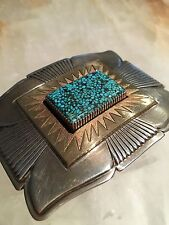 Collectors-1st pl Winner- Gibson Nez Turquoise Belt Buckle SS & 14k gold-REDUCED