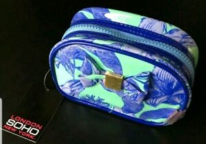 "SOHO BEAUTY Makeup bag 6.5x2.75x4.25"" COSMETIC BAG Bow MINT BLUE FLORAL"