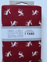 Emma & Mila Hudson Collection White Moose On Red  Fabric 1 Yard 100% Cotton