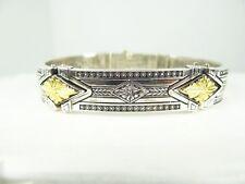 KONSTANTINO Amazing Sterling Silver 18K Gold  ''Orpheus'' Etched Hinge Bracelet