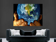 WORLD IN YOUR HANDS POSTER EARTH PLANET MAP WALL ART LARGE IMAGE