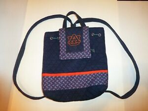 """Auburn Tigers Backpack Purse Bag Navy Blue 13"""" tall x 12"""" wide Cotton Polyester"""
