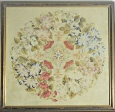 Antique 19th Century Framed Needlework Flowers. Vv517