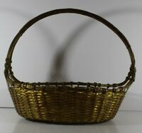 Vintage Solid Brass Gold Woven Wire Weave Basket Made In India