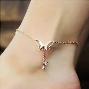Butterfly Rose Gold Plated Tassel butterfly Ankle Chain bracelet
