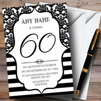 Vintage Damask Black & White 60th Personalised Birthday Party Invitations
